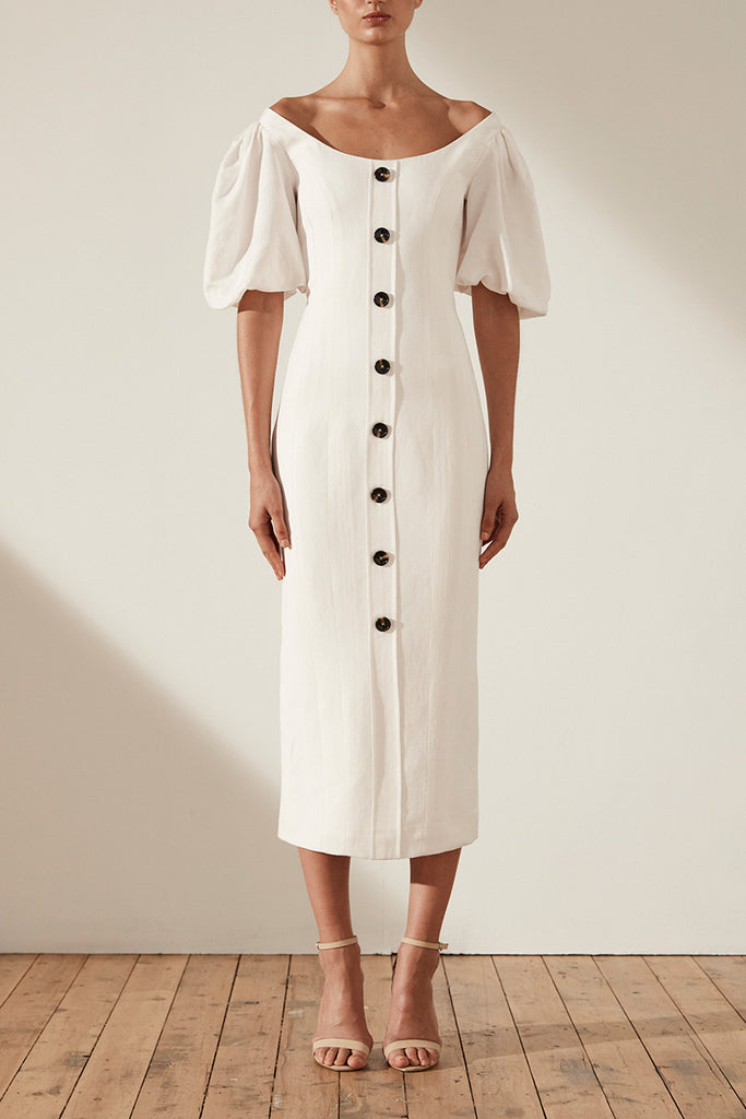 GAIA LINEN FITTED MIDI DRESS - IVORY