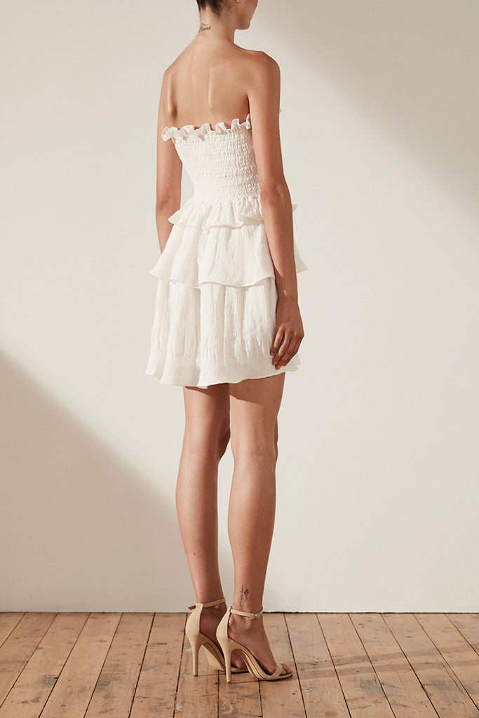 CHIARO LINEN SHIRRED TIERED MINI DRESS - IVORY