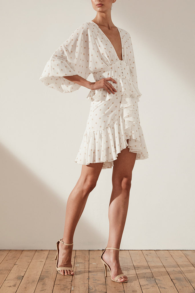SOPHIA PLUNGED RUFFLE MINI DRESS