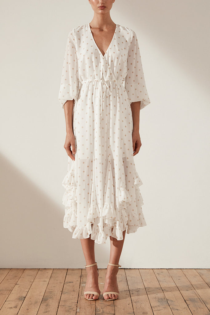 SOPHIA GODET DRAWSTRING MIDI DRESS