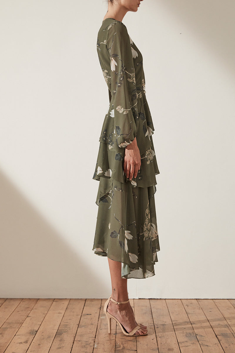 HARPER TIERED MIDI DRESS - MOSS