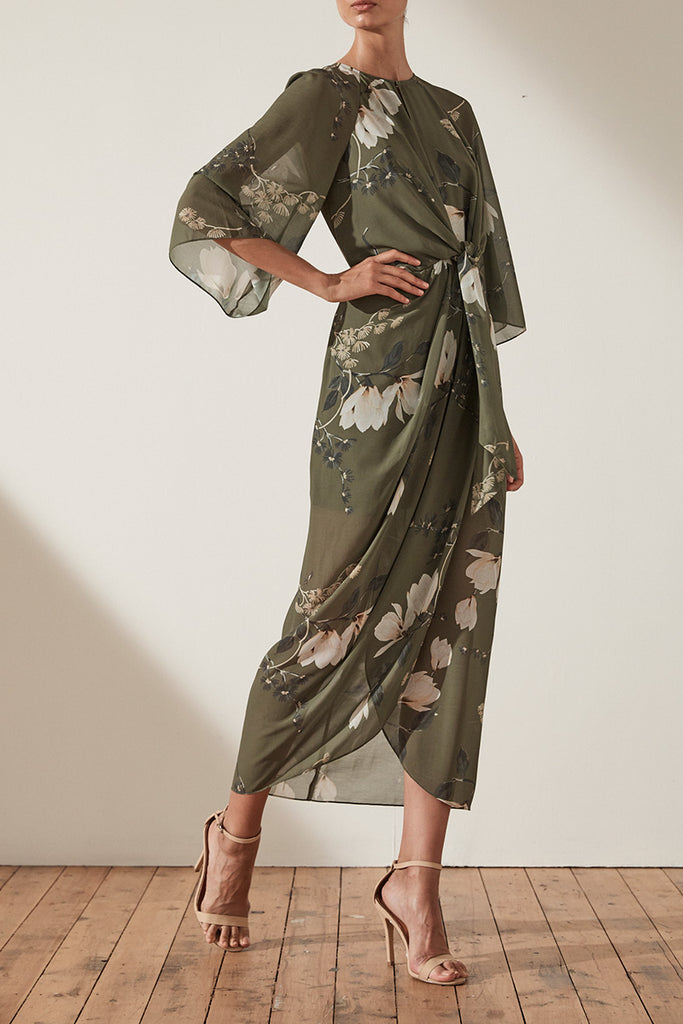 HARPER TIE FRONT DRAPED MIDI DRESS - MOSS