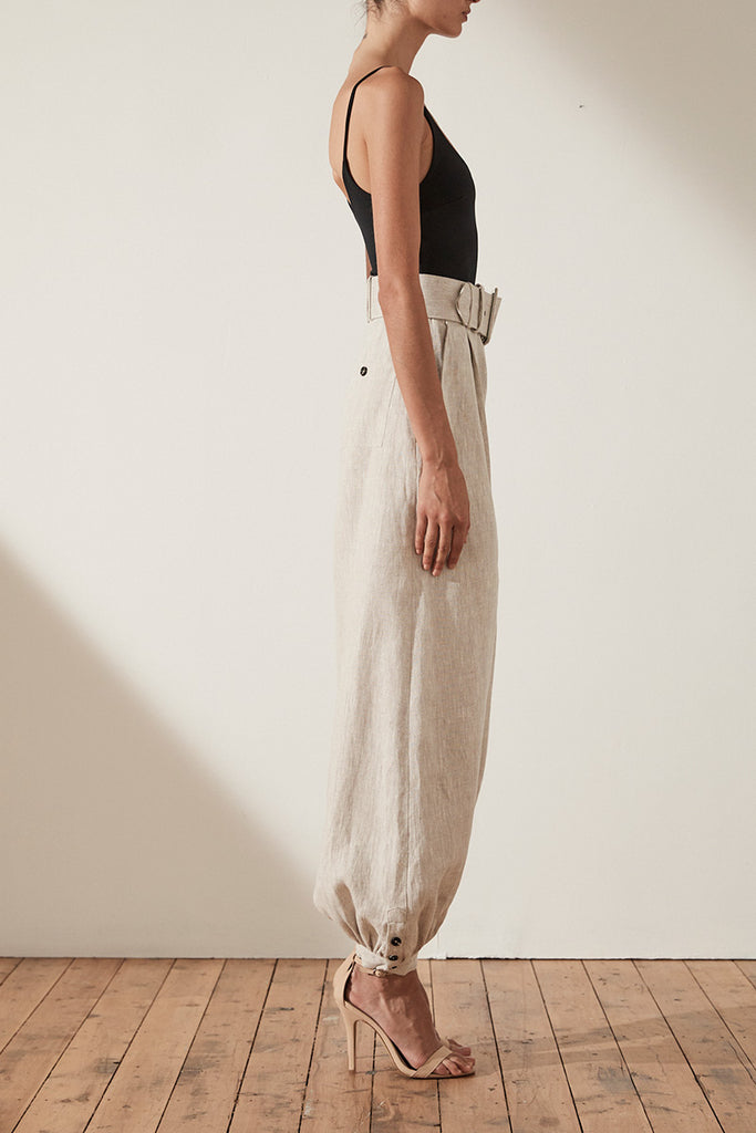 ATTICUS LINEN TAILORED HAREM PANT WITH BELT