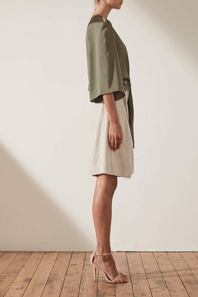 SAWYER TIE FRONT BLOUSE - MOSS