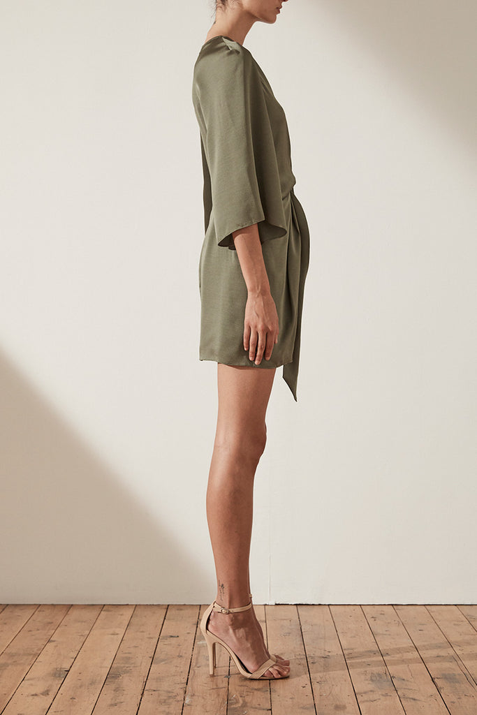 SAWYER TIE FRONT MINI DRESS - MOSS