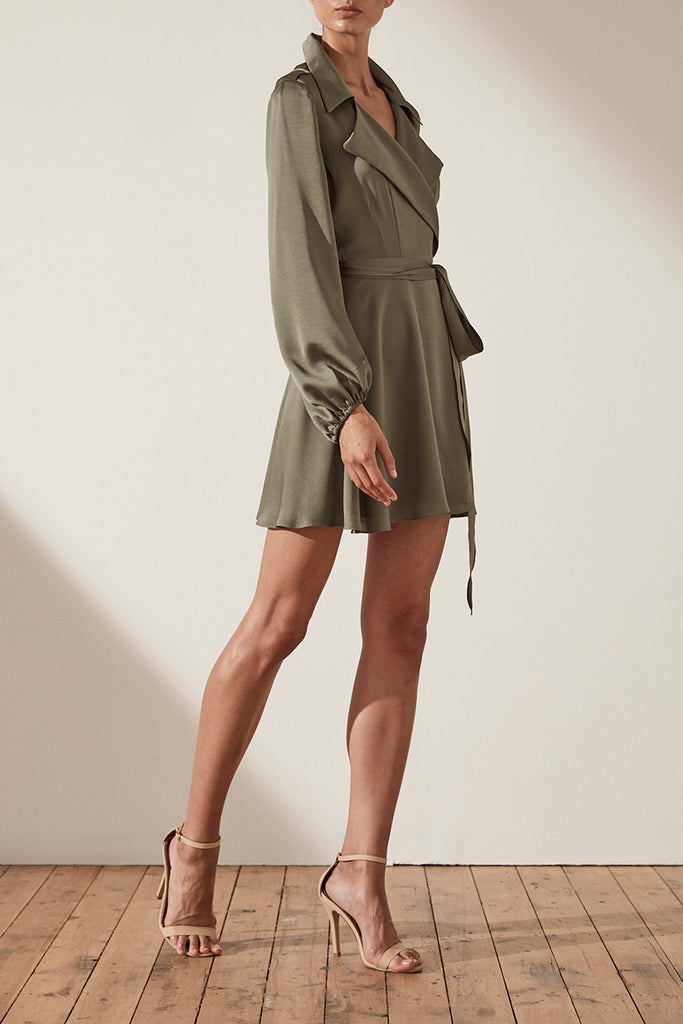 SAWYER TRENCH MINI DRESS - MOSS