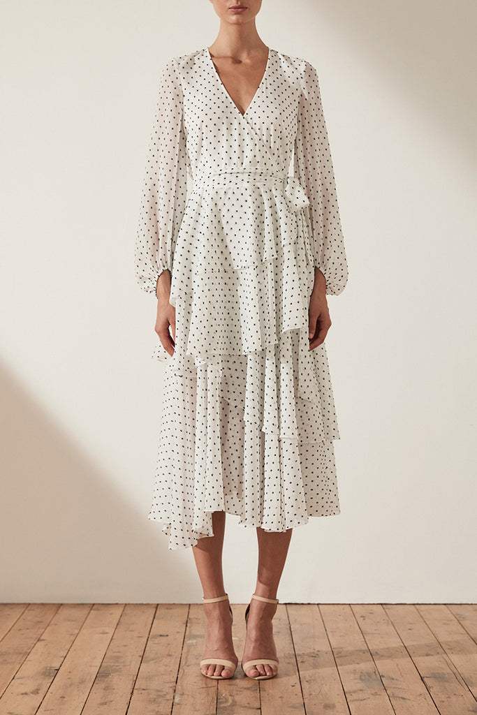 WILDER TIERED MIDI DRESS