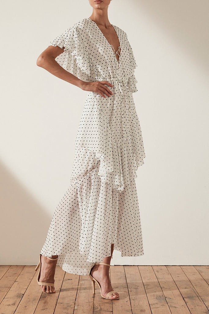 WILDER CROSS FRILL MAXI DRESS