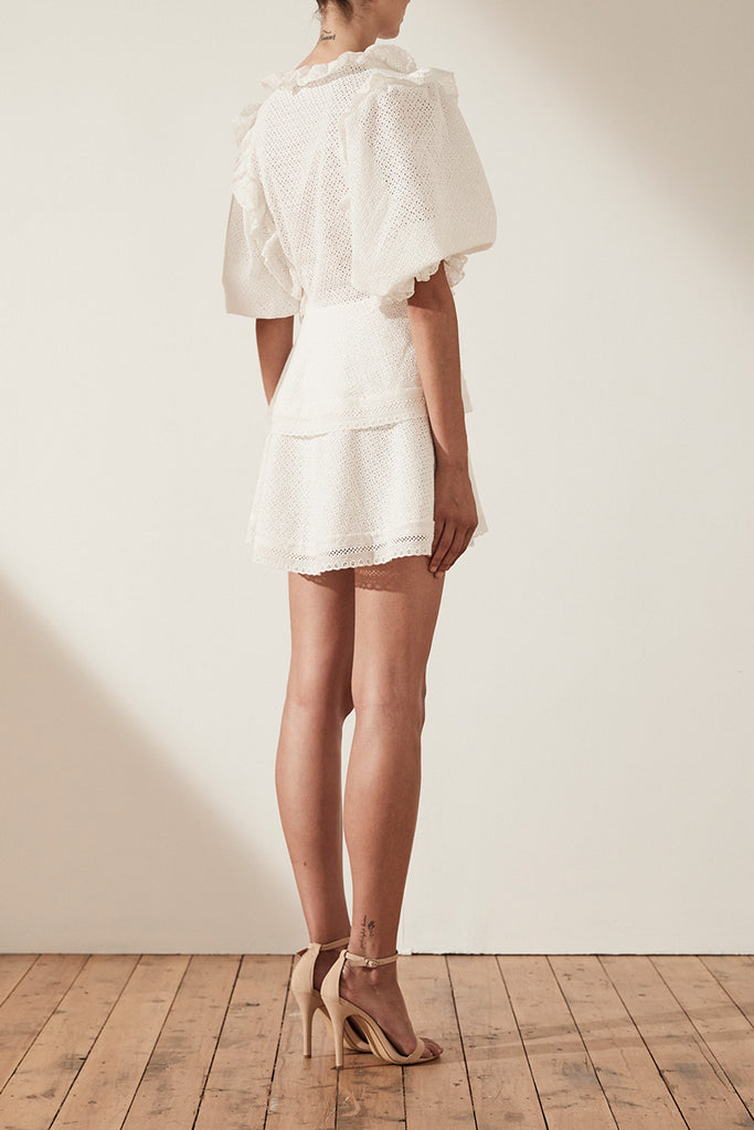 ACKLEY PUFF SLEEVE MINI DRESS - WHITE
