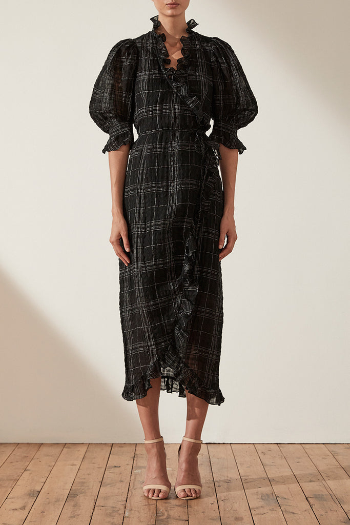 FINN LINEN PUFF SLEEVE MIDI WRAP DRESS