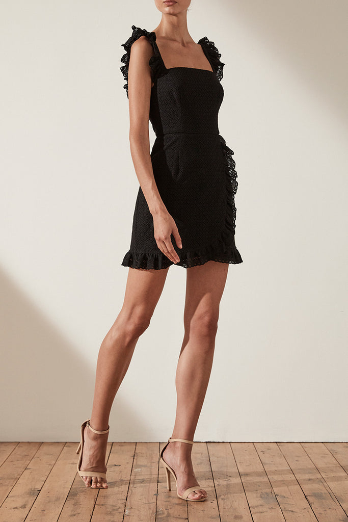 ACKLEY COTTON LACE FITTED MINI DRESS - BLACK