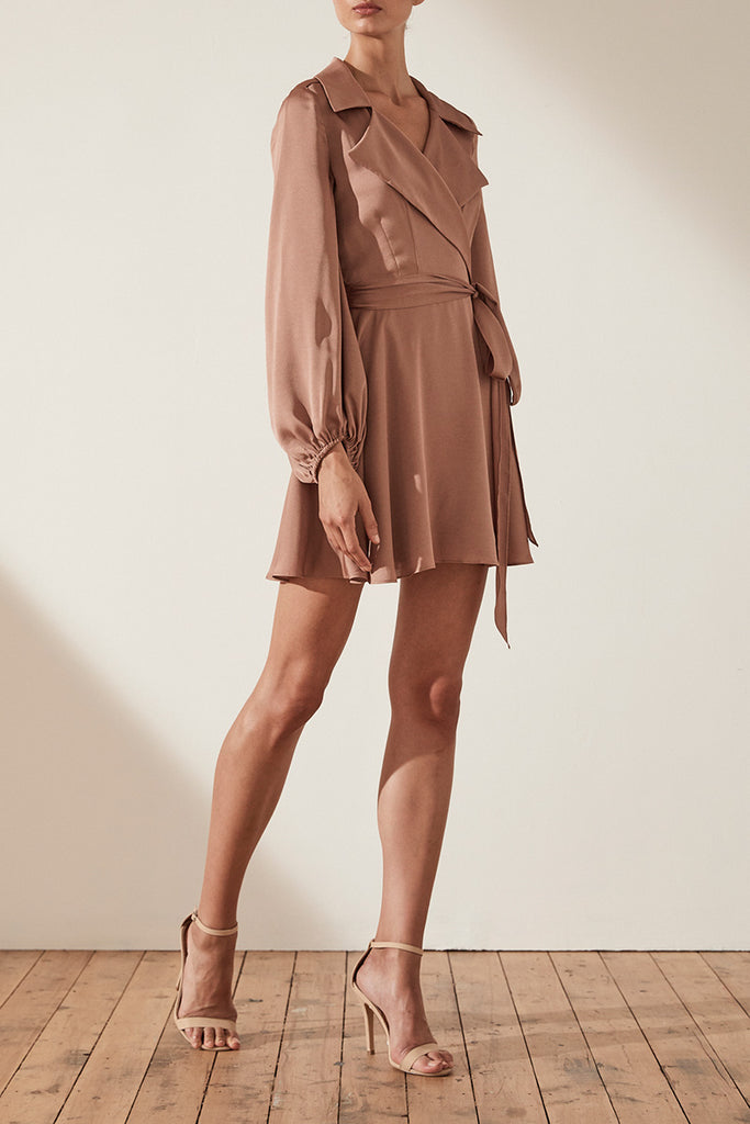 SAWYER TRENCH MINI DRESS - COCOA