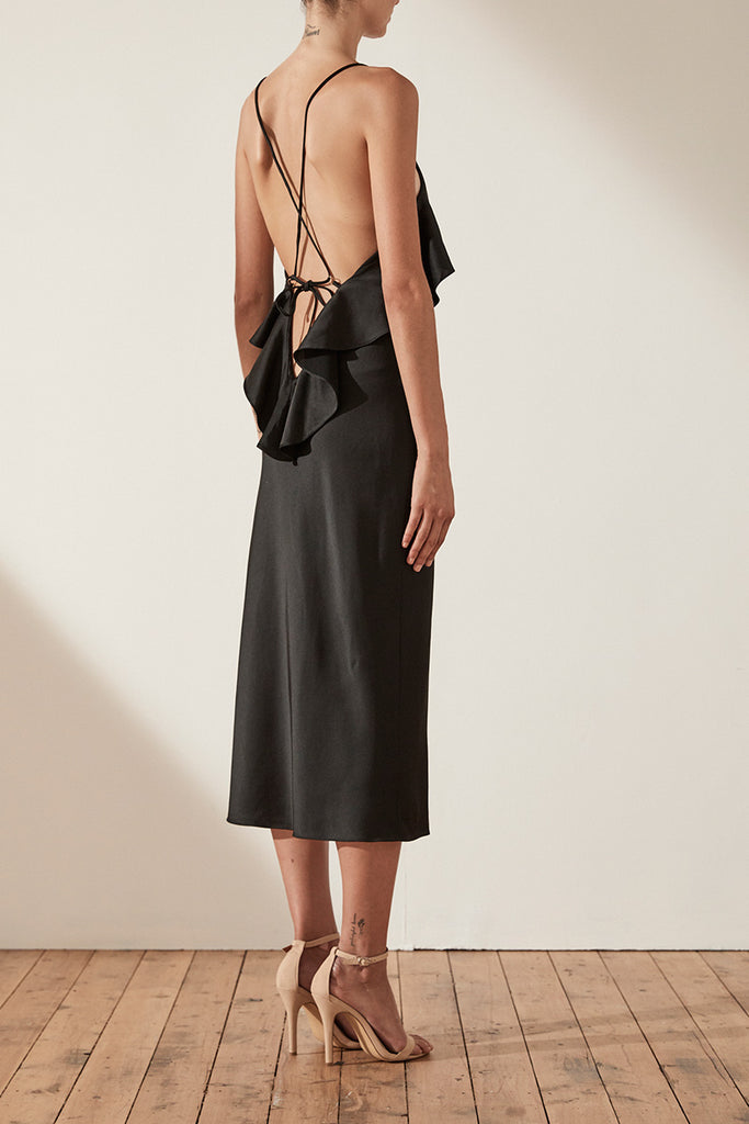 DOUGLAS BIAS CROSS BACK SLIP MIDI DRESS - BLACK