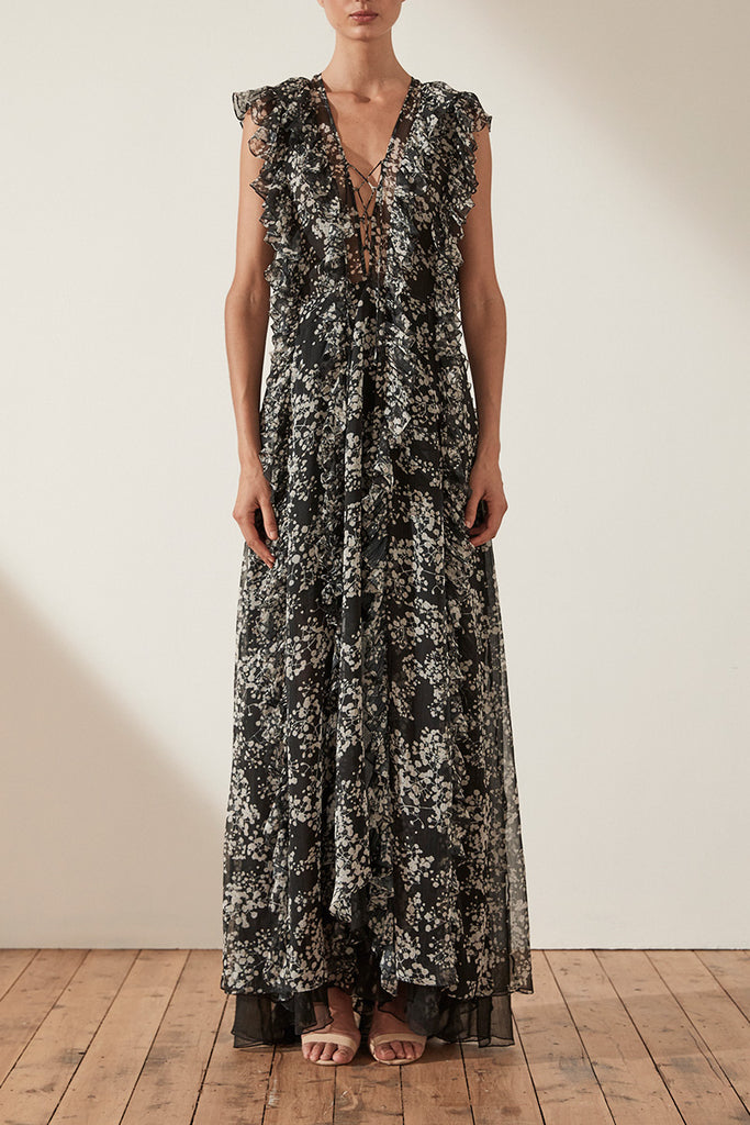 DAKOTA LAYERED RUFFLE MAXI DRESS