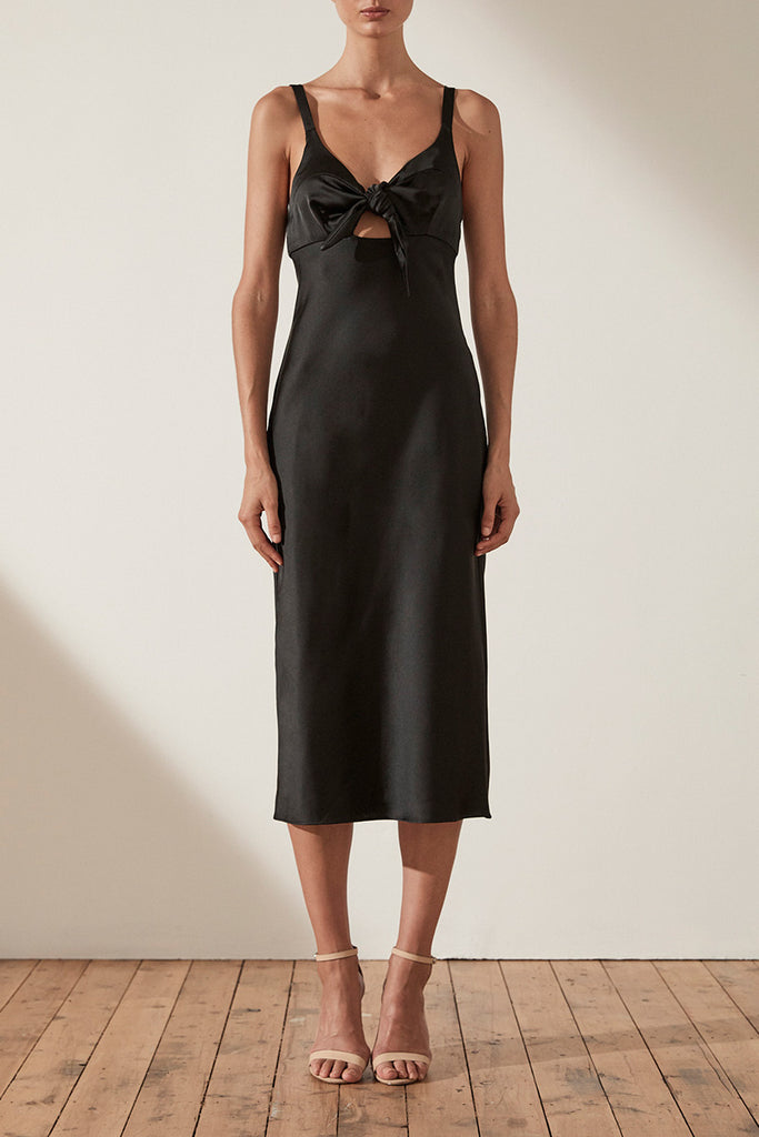 DOUGLAS TIE FRONT BIAS SLIP MIDI DRESS - BLACK