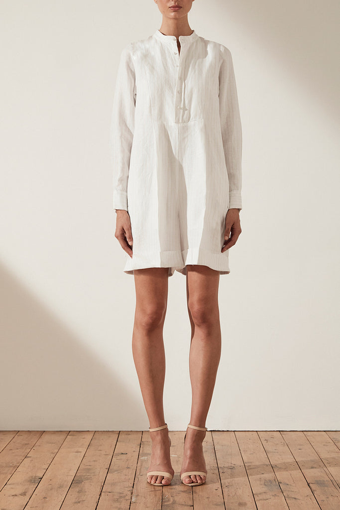 HOLDEN LINEN LONG SLEEVE ROMPER - GOLD LUREX