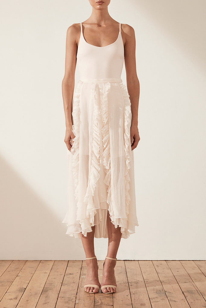 WILLOW RUFFLE MIDI SKIRT
