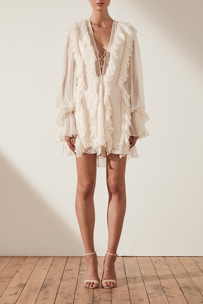 WILLOW RUFFLE MINI DRESS