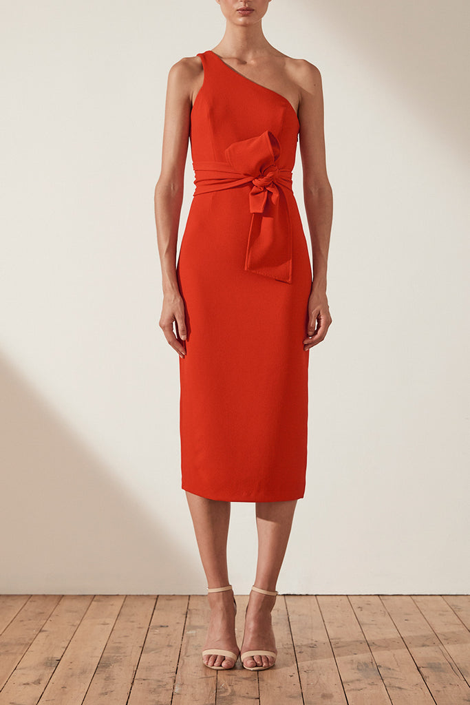 BRYANT ONE SHOULDER MIDI DRESS WITH BELT - RED