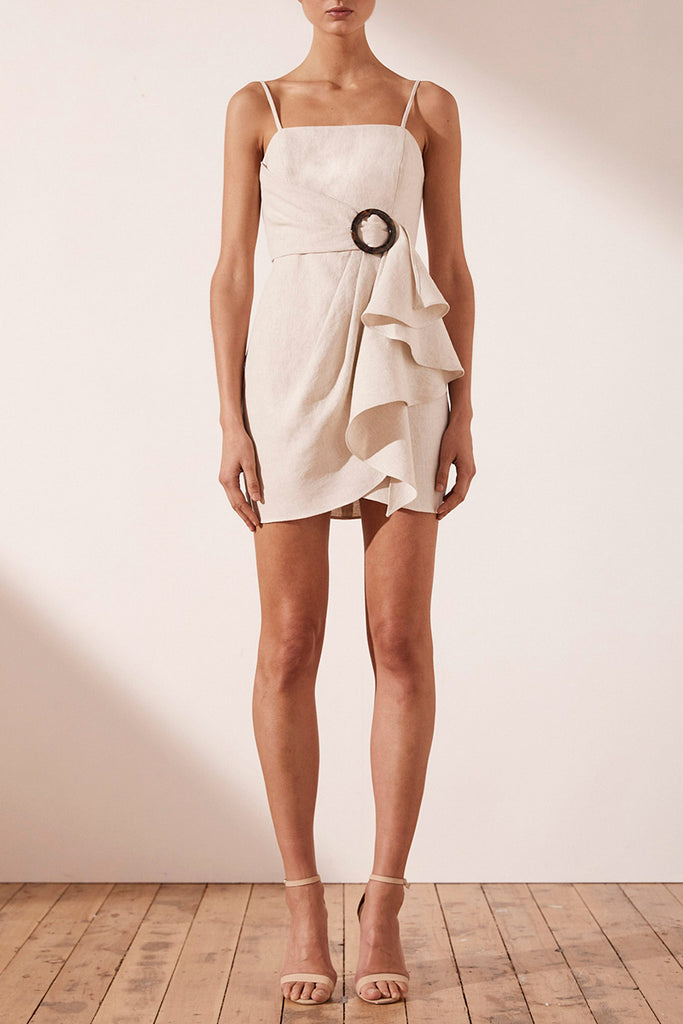 ALUARO LINEN DRAPED MINI DRESS
