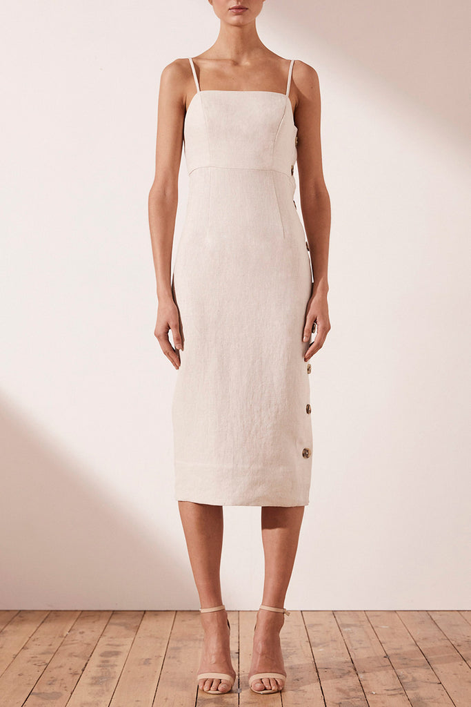 ALUARO FITTED MIDI DRESS