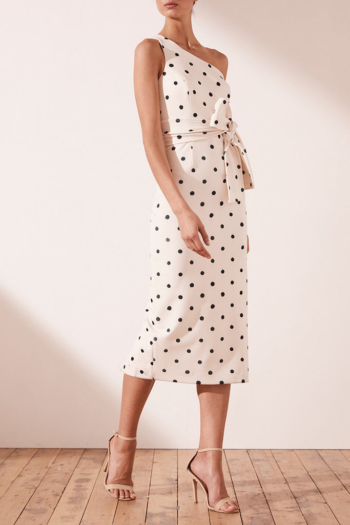 FLEUR ONE SHOULDER MIDI DRESS WITH BELT