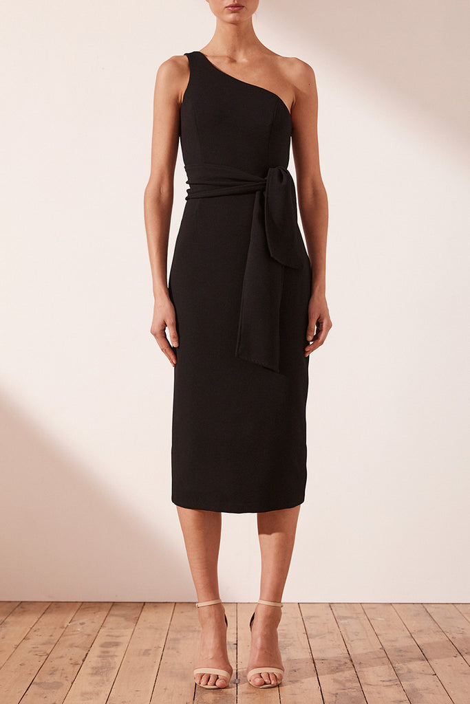 BRYANT ONE SHOULDER MIDI DRESS WITH BELT - BLACK