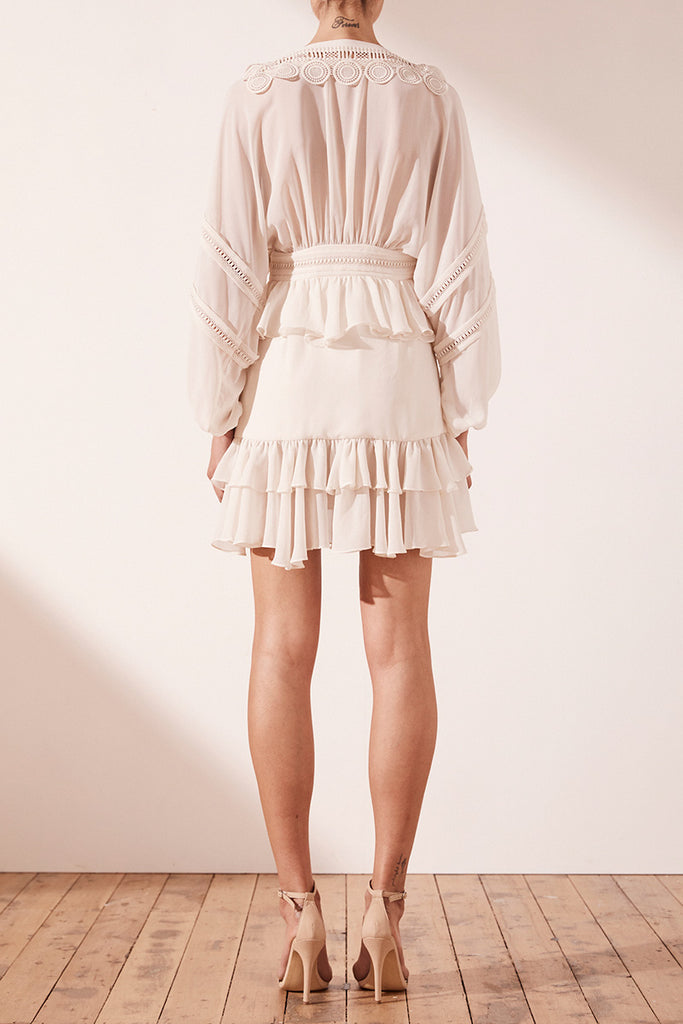 RAFAELLA PLUNGE MINI DRESS - BONE