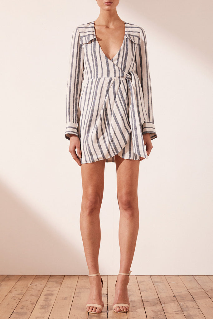 BAUTISTA DRAPED SHIRT MINI DRESS