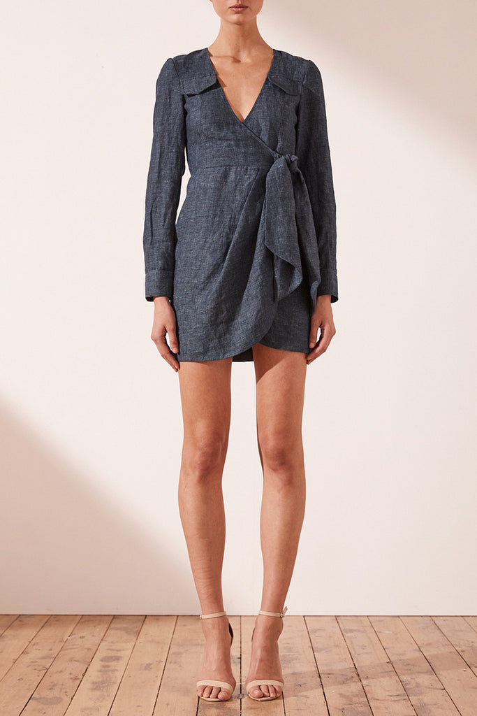 CARDOZO LINEN SHIRT MINI DRESS