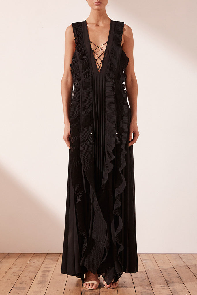 JULIETA PLEATED MAXI DRESS - BLACK