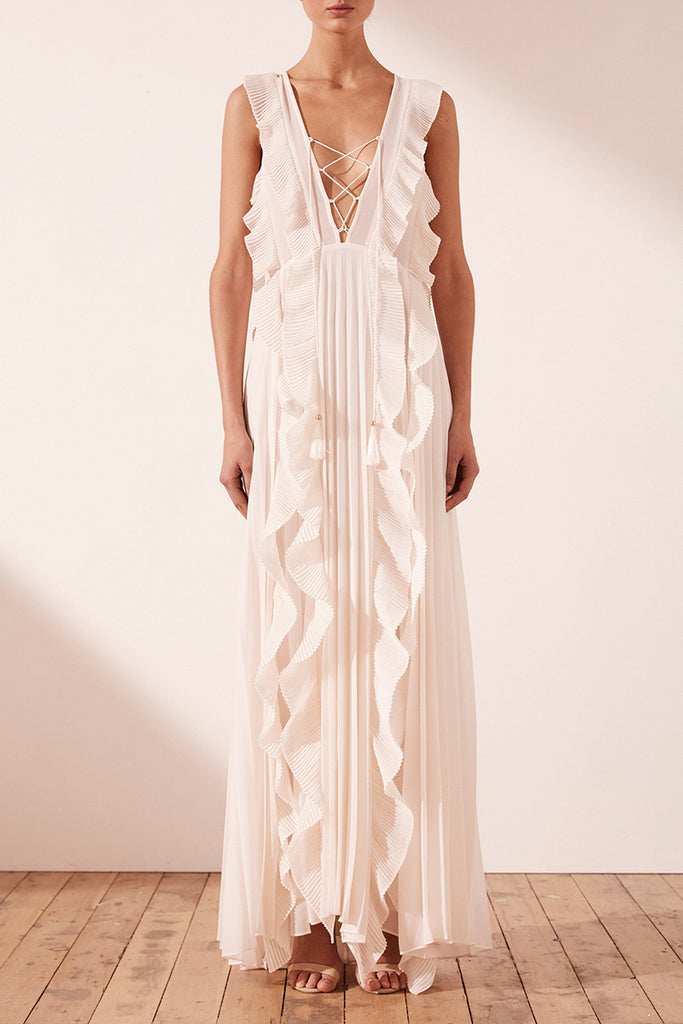 JULIETA PLEATED MAXI DRESS - IVORY