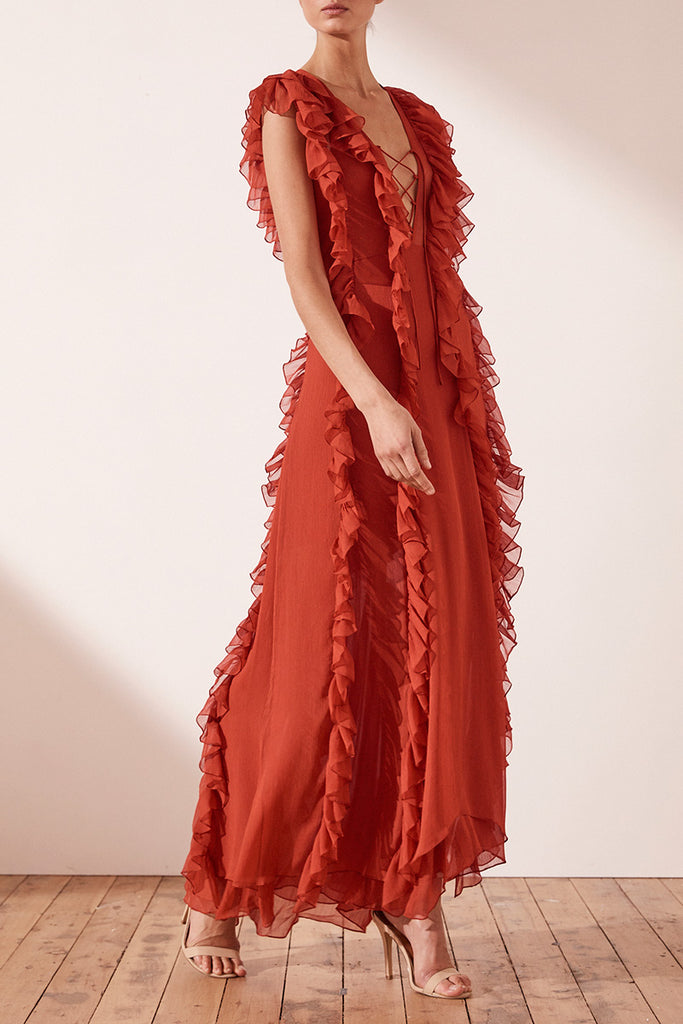 CATHERINE LAYERED RUFFLE MAXI DRESS - BURNT RED