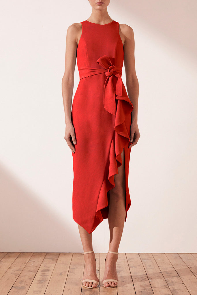 CELESTE RUFFLE FRONT FITTED MIDI DRESS - RED