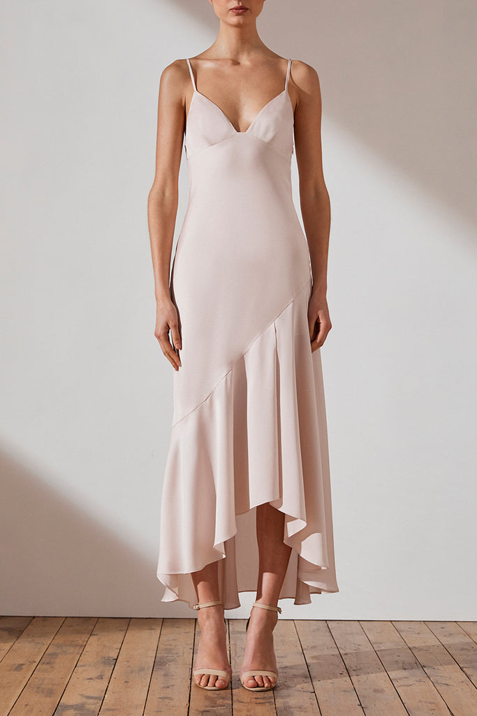 LUXE BIAS ASYMMETRICAL SLIP DRESS - PORCELAIN