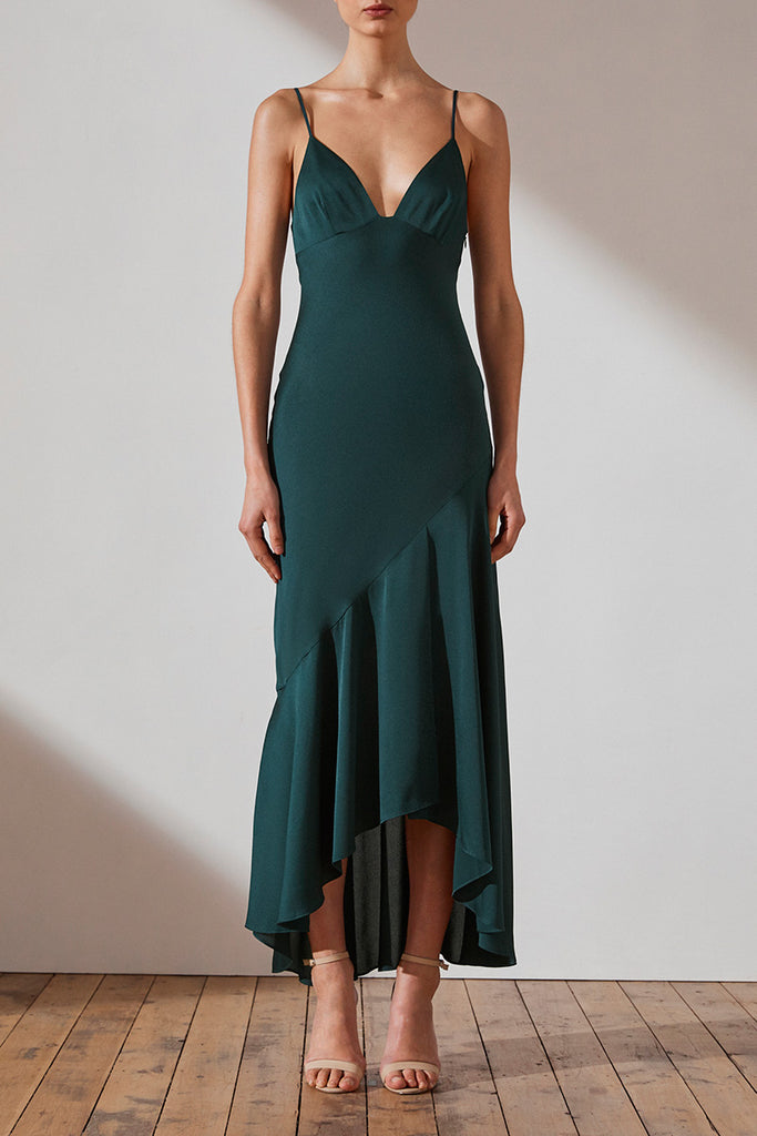 LUXE BIAS ASYMMETRICAL SLIP DRESS - EMERALD