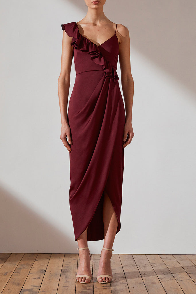 LUXE ASYMMETRICAL FRILL DRESS - GARNET
