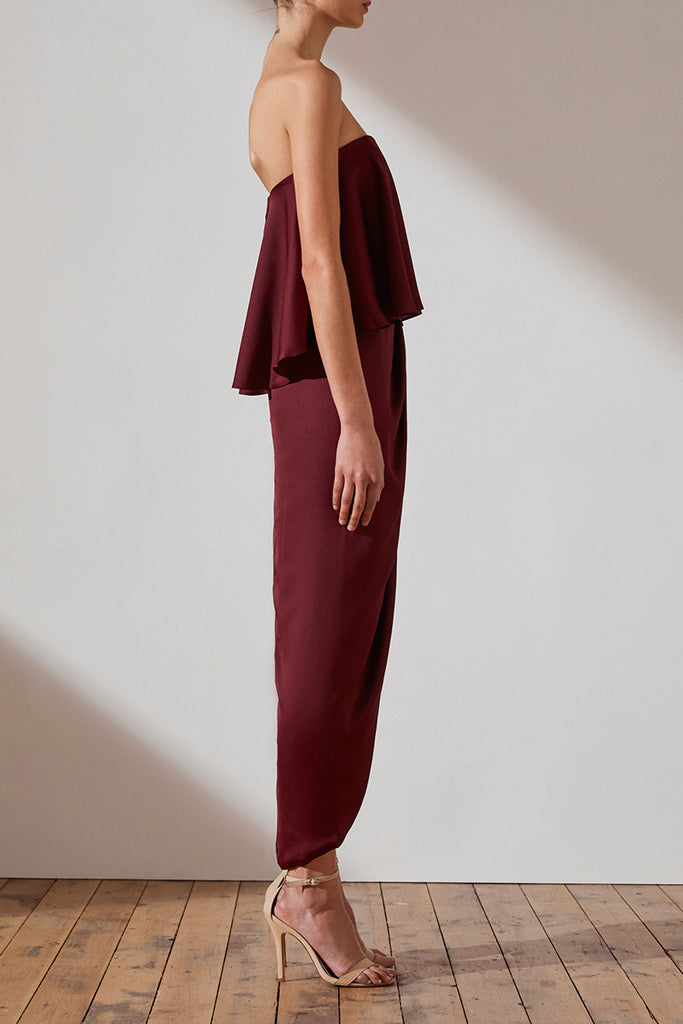 LUXE 'U' WIRE FRILL DRESS - GARNET