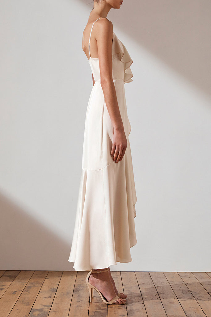 LUXE BIAS FRILL WRAP DRESS - CRÈME