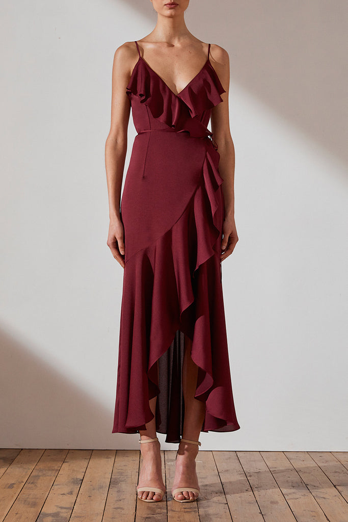 LUXE BIAS FRILL WRAP DRESS - GARNET