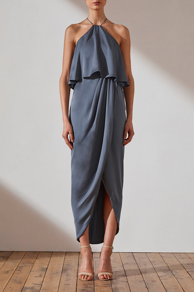 LUXE HALTER FRILL DRESS - PEWTER