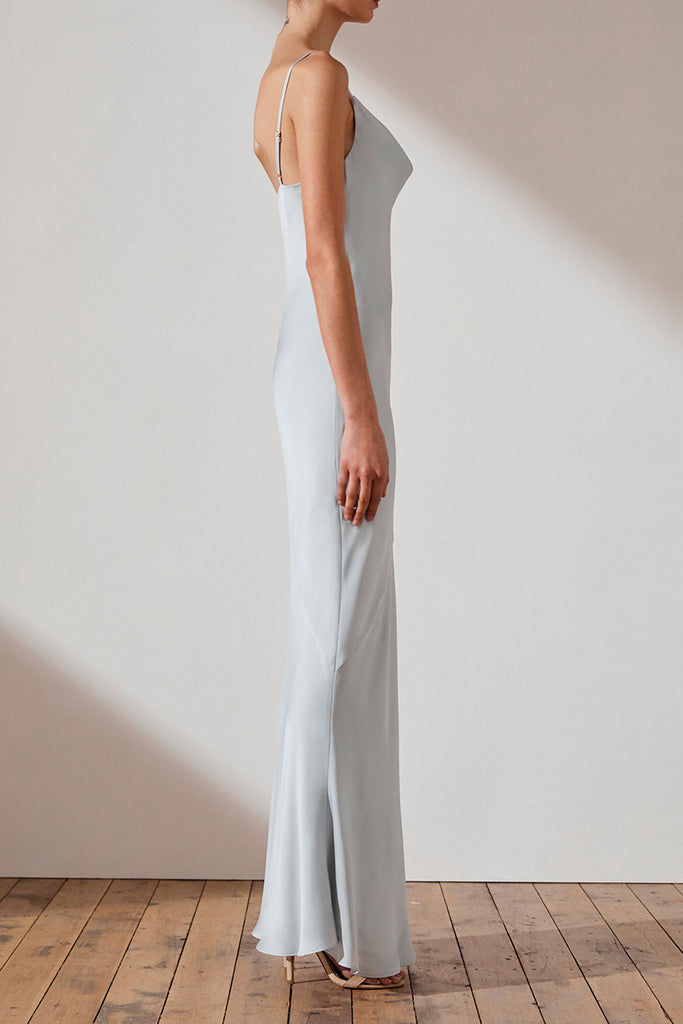 LUXE BIAS COWL SLIP DRESS - CLOUD
