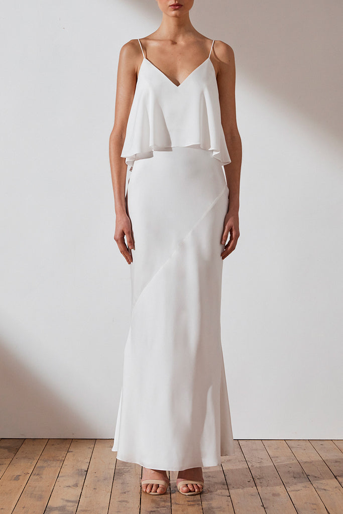 LUXE BIAS FRILL SLIP DRESS - IVORY