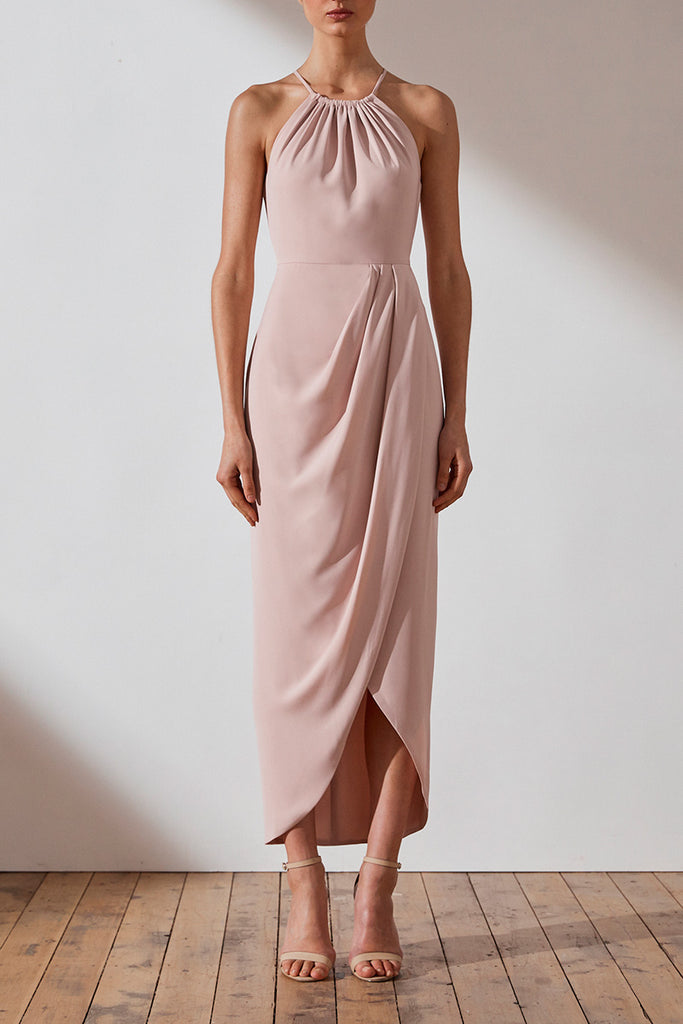 CORE HIGH NECK RUCHED DRESS - BALLET