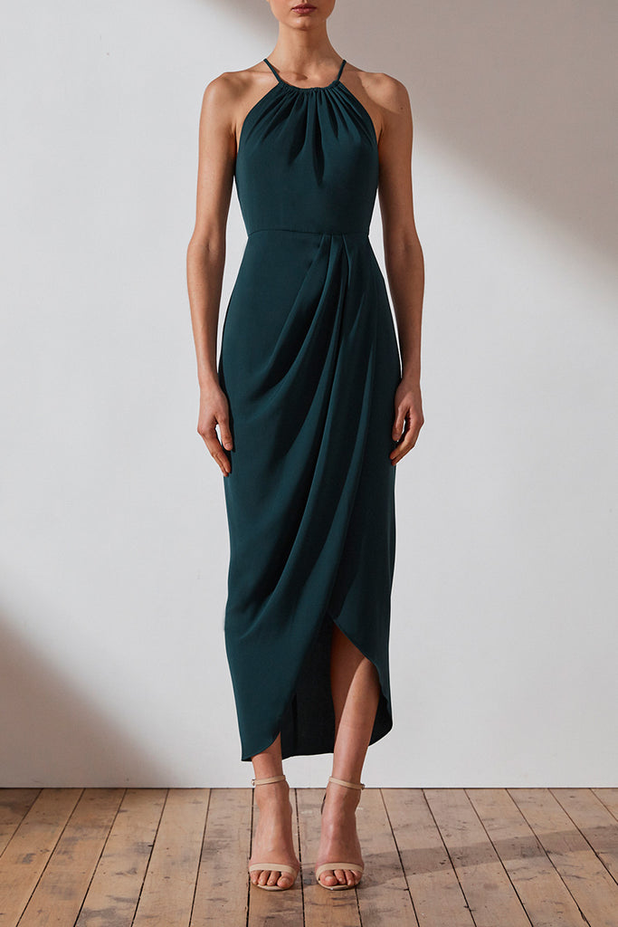 CORE HIGH NECK RUCHED DRESS - SEAWEED