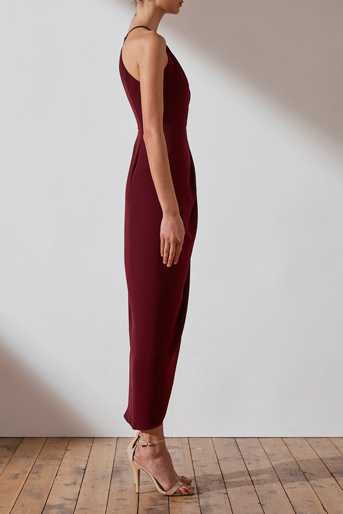 CORE HIGH NECK RUCHED DRESS - BURGUNDY
