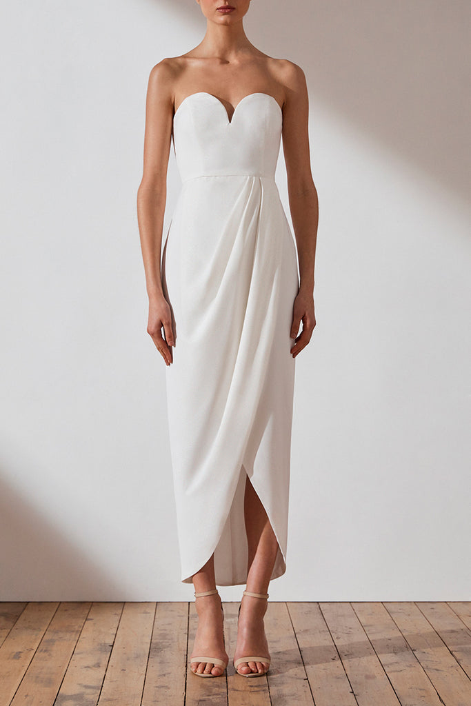 CORE 'U' BUSTIER DRAPED DRESS - IVORY