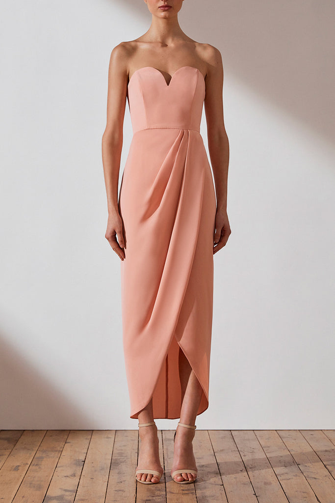 CORE 'U' BUSTIER DRAPED DRESS - DUSTY PINK