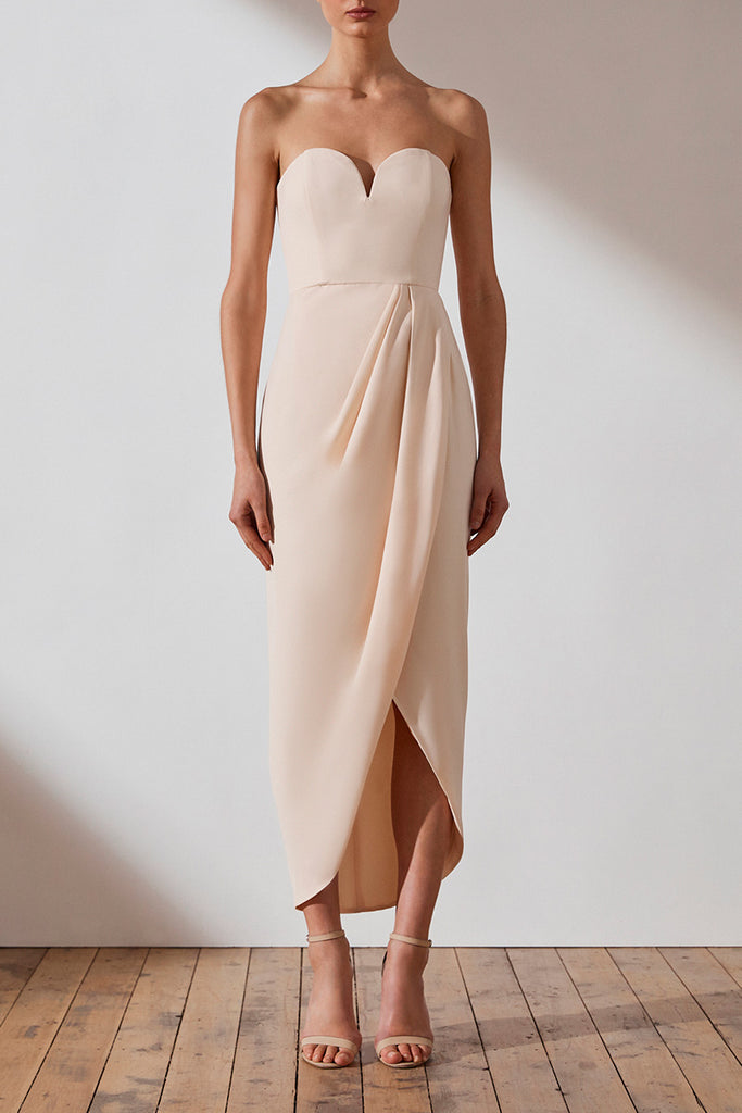 CORE 'U' BUSTIER DRAPED DRESS - NUDE