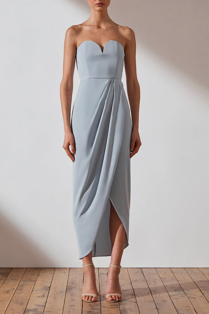 CORE 'U' BUSTIER DRAPED DRESS - POWDER BLUE
